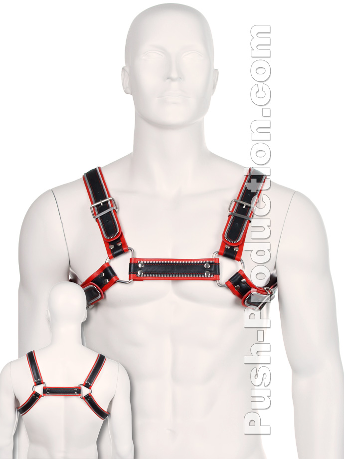 Bulldog Zipper Design Leather Harness - Black/Red