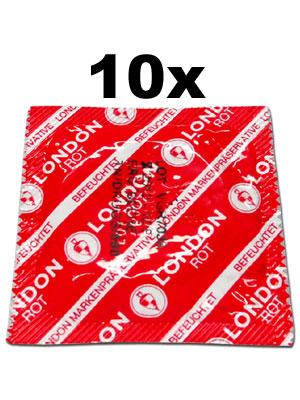 Preservativi London (10 pezzi) - rosso con aroma alla fragola