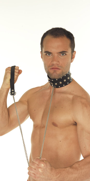 Collar with Studs and Dog Chain