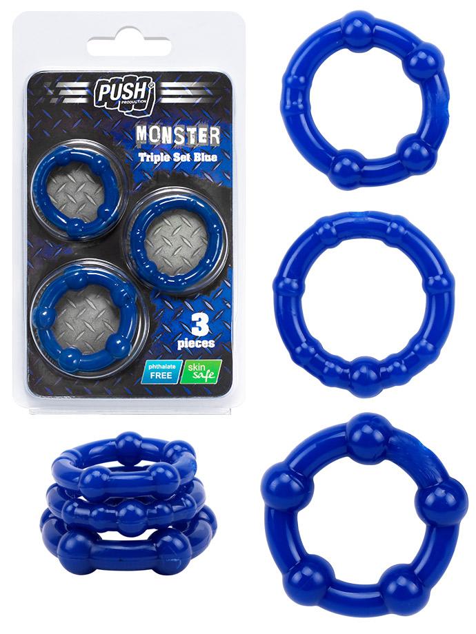 Push Monster Cockring - Triple Set Blue