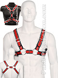 Scottish Zipper Design Leather Harness - Red/Black