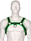 Club Leather Harness - Black/Green